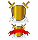 Vector gold and silver shields with swords and red banner