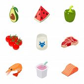 Chemical Food Icons Set. Cartoon Set Of 9 Chemical Food Vector Icons For Web Isolated On White Backg poster