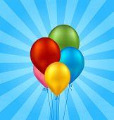 Tarjeta de la hermosa vector con globos