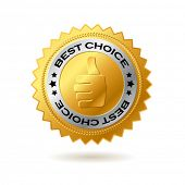 Vector best choice label golden label.