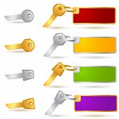 Vector gold and silver keys with trinkets