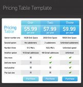 pic of tariff  - Vector pricing table template - JPG