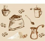 set  of Coffee accessories graphic illustration