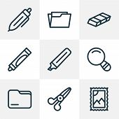 Stationary Icons Line Style Set With Folder, Open Folder, Scissors And Other Postmark Elements. Isol poster
