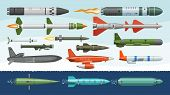 Missile Vector Military Missilery Rocket Weapon And Ballistic Nuclear Bomb Illustration Militarily S poster