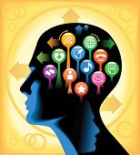 Social-Media-Brain.The development of global communications