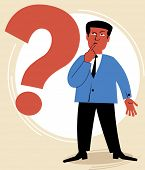 man pondered the question.figure business concept