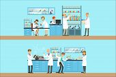 Chemists In The Chemical Research Lab Doing Experiments And Running Chemical Tests poster