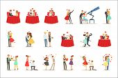 Couples In Love Romantic St. Valentine S Day Date, Lovers And Romance Set Of Vector Illustrations poster