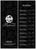 Design do menu de restaurante