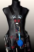 Protective Black Suit For Rescue Team Alpinism Mountaineering Climbing With Metal Carbine Safety Hoo poster
