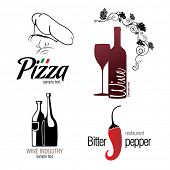 Label set for restaurant, cafe, bar and winemaking