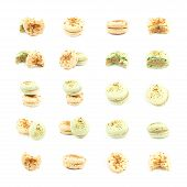 Sweet Macaroon Confection Isolated Over The White Background, Set Of Multiple Different Foreshorteni poster