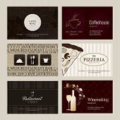 Set of 6 detailed vertical business cards. For cafe and restaurant