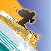 Modern abstract background with skier. Vector illustration.