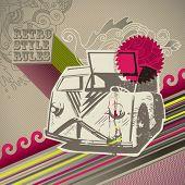 Conceptual designed artistic retro background. Vector illustration.