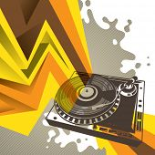Artistic background with stylized turntable. Vector illustration.