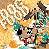 Illustrated comic dog food background. Vector illustration.