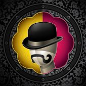 Conceptual vintage background with bowler hat. Vector illustration.