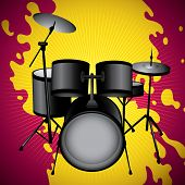 Stylized illustration of drum set. Vector illustration.
