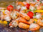 Shrimp Preparing With Vegetables And Herbs Close Up. Hot Shrimp Appetizers With Herbs And Tomato. Sh poster