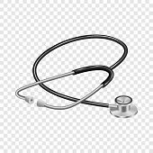 Medical Stethoscope Mockup. Realistic Illustration Of Medical Stethoscope Mockup For On Transparent  poster