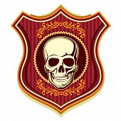Illustrated crest with human skull. Vector illustration.