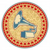 Illustrated vintage emblem with old gramophone. Vector illustration.
