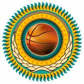 Illustrated basketball colorful emblem with retro elements. Vector illustration.