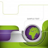 Designed layout with illustrated globe. Vector illustration.