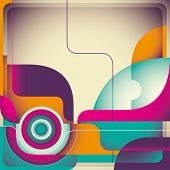 Vintage abstraction with designed shapes. Vector illustration.