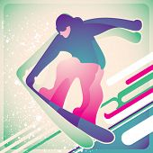 Illustrated snowboarding poster. Vector illustration.