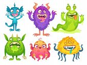 Cartoon Monster Mascot. Halloween Funny Monsters, Bizarre Gremlin With Horn And Furry Creations. Car poster