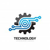 Digital Tech - Vector Business Logo Template Concept Illustration. Gear Electronic Factory Sign. Cog poster