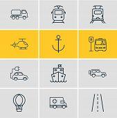 Vector Illustration Of 12 Transportation Icons Line Style. Editable Set Of Suv, Subway Train, Ambula poster