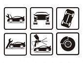 Cars repair icons. Vector illustration.