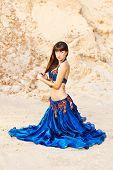 East Belly Dancer In Blue Lingerie.