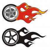 Wheel with fire icon on white.