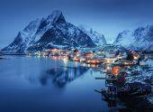 Beautiful Reine In At Night, Lofoten Islands, Norway. Winter Landscape With Houses, Village, Illumin poster