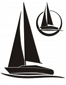 silhouette of sailboat, vector sign for sailing.