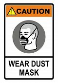 Wear your dust mask, safety warning sign. Construction Industry Safety.