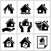 stock photo of fire insurance  - House insurance icons Set - JPG