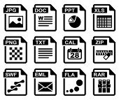 File type icons: Office set. All white areas are cut away from icons and black areas merged.