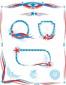 American style set of design elements,frames,borders, labels, stamps.