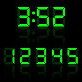 Green Vector Clock Digits