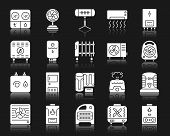 Hvac Silhouette Icons Set. Isolated Web Sign Kit Of Climatic Equipment. Fan Pictogram Collection Inc poster