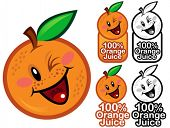 Happy 100% Orange Juice Seal / Mark / Icon