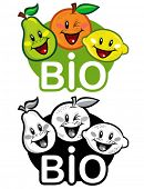 Bio Fruits Seal in color and B&W