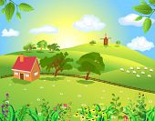 image of farm landscape  - peaceful landscape - JPG