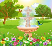 beautiful garden with fountain